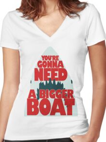 Jaws: You're Gonna Need A Bigger Boat Women's Fitted V-Neck T-Shirt