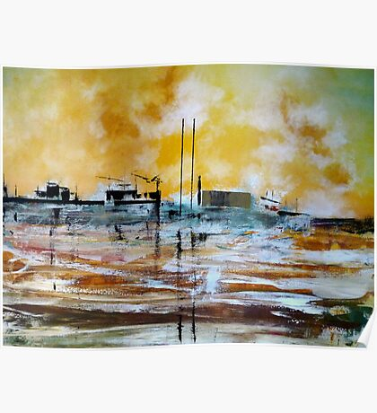 Sunset Lisbon Shipyard Poster