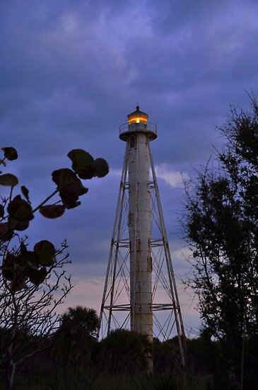 Gasparilla Lighthouse After Sunset by Kim McClain Gregal