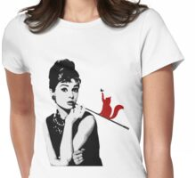 Audrey and the cat Womens Fitted T-Shirt
