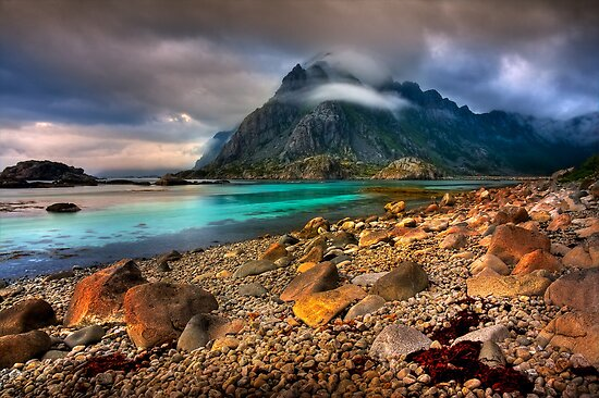 Mountain Scene, Henningsvaer, Lofoten Islands. Norway. by photosecosse /barbara jones