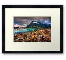 Mountain Scene, Henningsvaer, Lofoten Islands. Norway. Framed Print