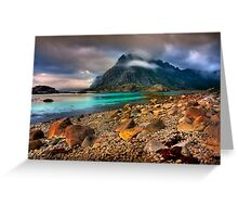 Mountain Scene, Henningsvaer, Lofoten Islands. Norway. Greeting Card