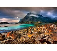 Mountain Scene, Henningsvaer, Lofoten Islands. Norway. Photographic Print