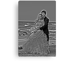 black and white with a halo Canvas Print