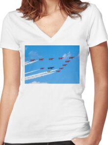 Red Arrows 50th Anniversary Formation Women's Fitted V-Neck T-Shirt