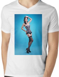 """The girls next door""  Pin up Girl  Mens V-Neck T-Shirt"