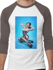 Retro Pin up Girl  Men's Baseball ¾ T-Shirt