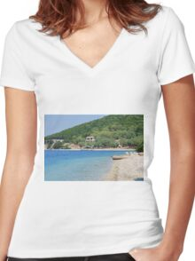 Agios Ioannis beach, Meganissi Women's Fitted V-Neck T-Shirt