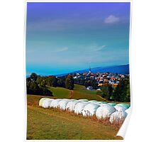 Hay bales, clouds and some scenery Poster