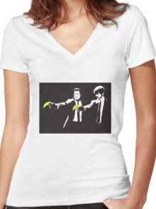 bansky Women's Fitted V-Neck T-Shirt