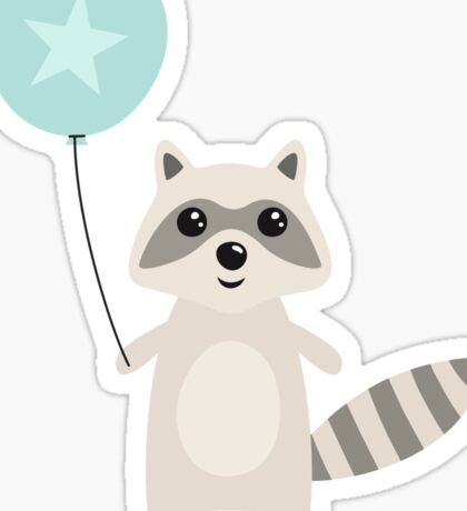 Cute raccoon holding an aqua blue balloon with a star Sticker