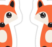 Cute fox stickers, cartoon illustration of a boy and girl Sticker