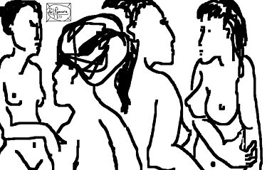4 x female nudes -(070311)- mouse drawn/ms paint by paulramnora