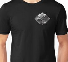 black and white mountains logo on black  Unisex T-Shirt
