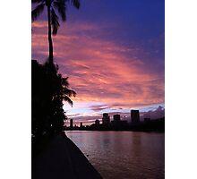 Ala Wai Blvd sunset Photographic Print