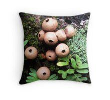 Puffballs And Lichen Throw Pillow