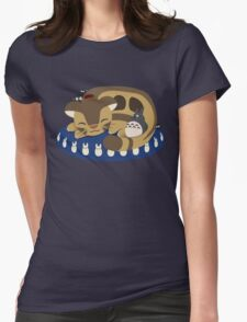 Cat Bus Snuggle Womens Fitted T-Shirt