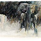 Africa - Charging Elephant by Pieter  Zaadstra