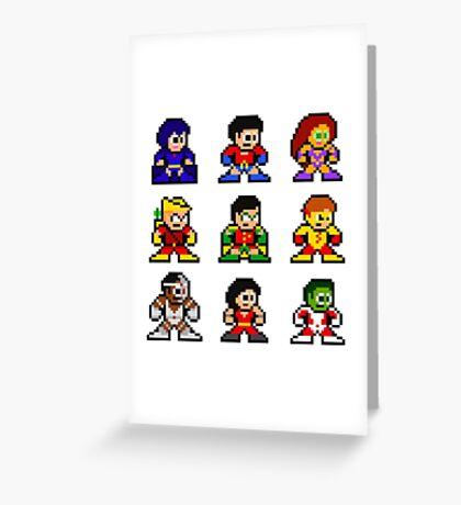 8-bit Classic Teen Titans Greeting Card
