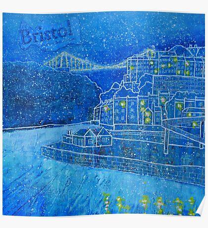Clifton Suspension Bridge in the snow, Bristol Poster