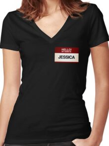 NAMETAG TEES - JESSICA Women's Fitted V-Neck T-Shirt