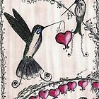 Hummingbird Heart - Gorgeous one of a kind card by InkyDreamz