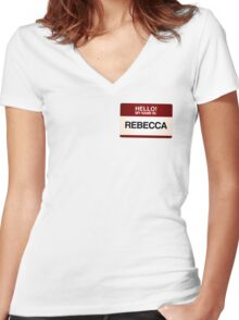 NAMETAG TEES - REBECCA Women's Fitted V-Neck T-Shirt