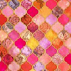 Hot Pink, Gold, Tangerine & Taupe Decorative Moroccan Tile Pattern by micklyn