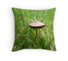 Tiny mushroom in the garden Throw Pillow