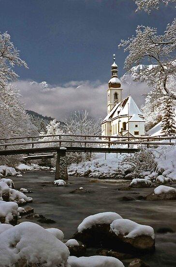 Ramsau Chapel with Snow, December 1985 #1 by David J Dionne