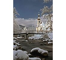 Ramsau Chapel with Snow, December 1985 #1 Photographic Print