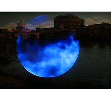Lady Moon over Rome along Tevere River  Photographic Print