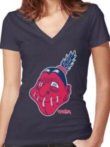 Cleveland Shruken Heads Women's Fitted V-Neck T-Shirt
