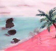 Palm Tree Series, 3 Rocks in Ocean,  watercolor by Anna  Lewis