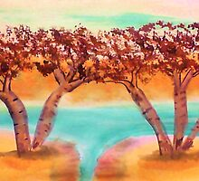 Birch trees by water in watercolor by Anna  Lewis, blind artist