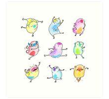 Technicolor Dancing Pugs Art Print
