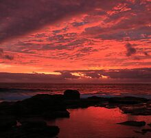 Fire on the Water- Sunset at Margaret River by Phil Back