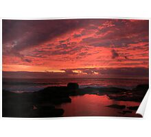 Fire on the Water- Sunset at Margaret River Poster