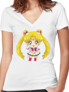 Super Sailor Moon Petit Chara Women's Fitted V-Neck T-Shirt