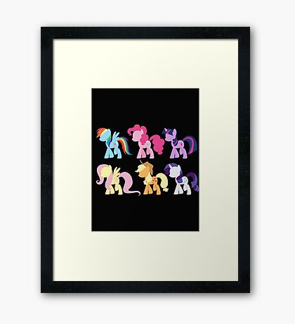 My Little Pony Friendship is Magic: Silhouette Art Framed Print