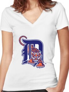detroit tigers logo Women's Fitted V-Neck T-Shirt