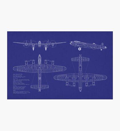 Avro Lancaster Bomber Blueprint Photographic Print
