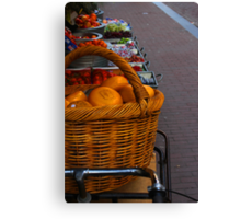 Cheese Stacked On Bike In Amsterdam Canvas Print