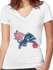 detroit tigers lions logo Women's Fitted V-Neck T-Shirt