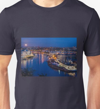 Moonrise over Bristol Harbourside Unisex T-Shirt