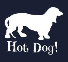 Hot Dog! Dachshund Wiener Dog White Silhouette by hiway9
