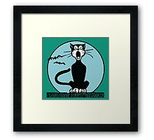 Retro Halloween Howling Cartoon Cat with Blue Moon Framed Print