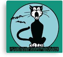 Retro Halloween Howling Cartoon Cat with Blue Moon Canvas Print