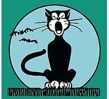 Retro Halloween Howling Cartoon Cat with Blue Moon Photographic Print